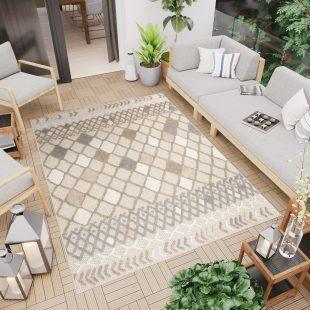 Patio Tappeto Indoor Outdoor Beige Grigio Geometrico Pelo Corto