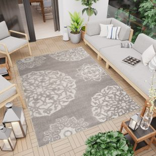 Patio Tappeto Moderno Indoor Outdoor Beige Blu Floreale A Pelo Corto