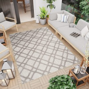 Patio Tappeto Moderno Indoor Outdoor Taupe Geometrico A Pelo Corto