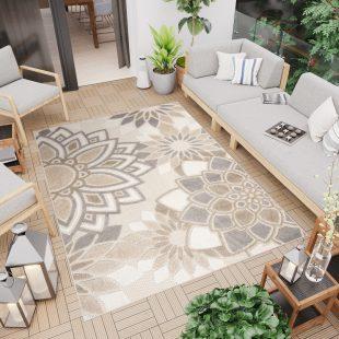 Patio Tappeto Moderno Indoor Outdoor Beige Grigio Floreale  Pelo Corto
