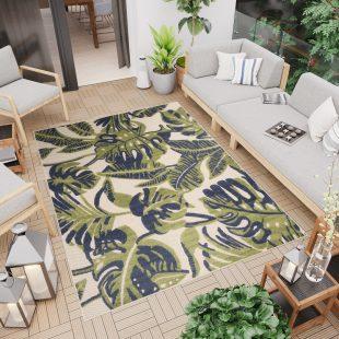 Patio Tappeto Moderno Indoor Outdoor Beige Blu Verde Foglie Pelo Corto