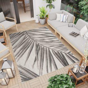 Patio Tappeto Moderno Indoor Outdoor Taupe Fumo Foglie A Pelo Corto