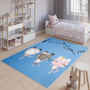 Jolly Tappeto Bambini Cameretta Animali Gatti Blu A Pelo Corto