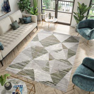 Asthane Tappeto Per Salotto Verde Geometrico Pelo Corto