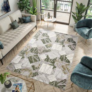 Asthane Tappeto Per Salotto Verde Grigio Geometrico Pelo Corto