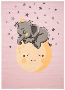 Jolly Tappeto Bambini Cameretta Elefante Animale Rosa A Pelo Corto