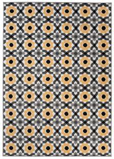 Maya Tappeto Moderno Salotto Giallo Floreale Geometrico A Pelo Corto