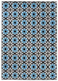 Maya Tappeto Moderno Salotto Blu Fiori Geometrico A Pelo Corto