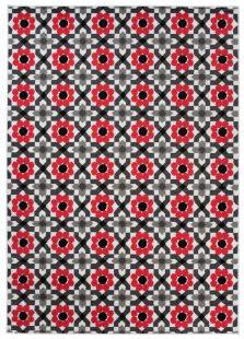 Maya Tappeto Moderno Salotto  Rosso Fiori Geometrico A Pelo Corto