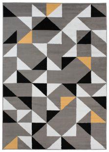 Maya Tappeto Moderno Grigio Giallo Geometrico A Pelo Corto