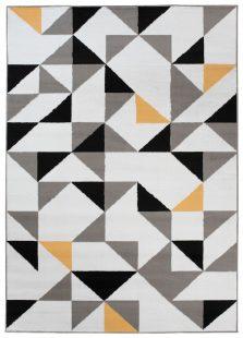 Maya Tappeto Moderno Bianco Giallo Geometrico A Pelo Corto