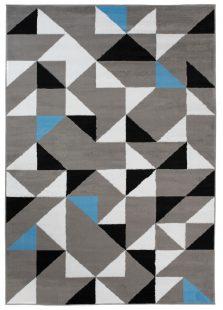 Maya Tappeto Moderno Salotto Grigio Blu Geometrico A Pelo Corto