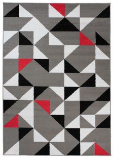 Maya Tappeto Moderno Salotto Grigio Rosso Geometrico A Pelo Corto