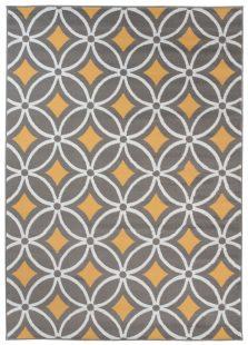 Maya Tappeto Giallo Grigio Orientale Geometrico A Pelo Corto