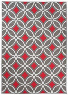 Maya Tappeto Moderno Salotto Grigio Rosso Orientale A Pelo Corto