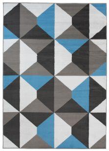 Maya Tappeto Blu Grigio Orientale Geometrico A Pelo Corto