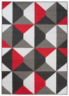Maya Tappeto Rosso Grigio Orientale Geometrico A Pelo Corto