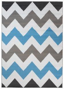 Maya Tappeto Moderno  Blu Geometrico ZigZag A Pelo Corto