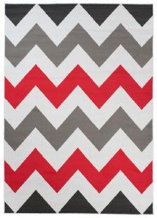 Maya Tappeto  Moderno Rosso Bianco Geometrico ZigZag A Pelo Corto
