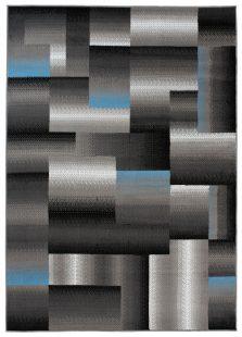 Maya Tappeto Grigio Blu Geometrico A Quadretti A Pelo Corto