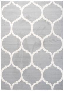 Laila Tappeto Moderno Salotto Bianco Grigio Marocchino Pelo Corto