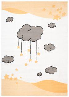 Luna Kids Tappeto Bambini Gioco Colorato Arancione Bianco A Pelo Corto