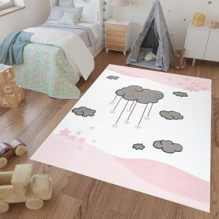 Luna Kids Tappeto Bambini Gioco Colorato Rosa Bianco A Pelo Corto