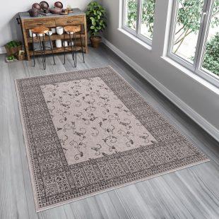 Floorlux Tappeto Sisal Argento Nero Orientale Floreale Indoor