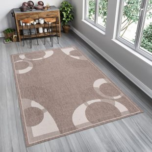 Floorlux Tappeto Sisal Taupe Marrone Chiaro Cerchi Indoor