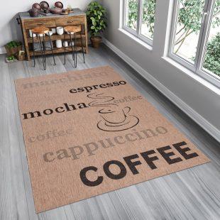 Floorlux Tappeto Sisal Marrone Beige Nero Stampa Caffè Indoor