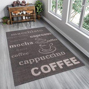 Floorlux Tappeto Sisal Nero Granite Argento Stampa Caffè Indoor