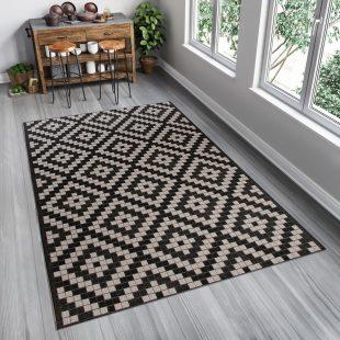 Floorlux Tappeto Sisal Nero Argento Orientale A Mosaico Indoor