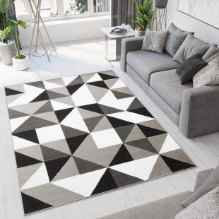 Bali Tappeto Geometrico Moderno Grigio Bianco Nero A Pelo Corto
