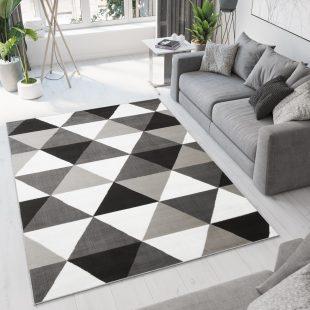 Bali Tappeto Geometrico Moderno Grigio Nero Bianco A Pelo Corto