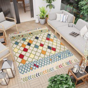 Patio Tappeto Indoor Outdoor 3D Beige Blu Multicolore Geometrico