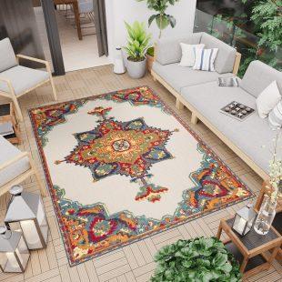 Patio Tappeto Indoor Outdoor 3D Beige Multicolore Tradizionale
