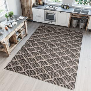 Floorlux Tappeto Sisal Cucina Moderno Nero Beige Argento Indoor