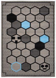 Atena Tappeto Moderno Geometrico Astratto Grigio Blu A Pelo Corto
