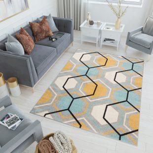 Lazur Tappeto Camera Ragazzi Grigio Turchese Arancione Geometrico
