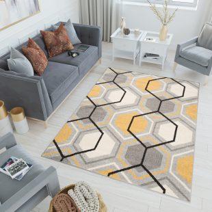 Lazur Tappeto Camera Ragazzi Grigio Arancione Geometrico Pelo Corto