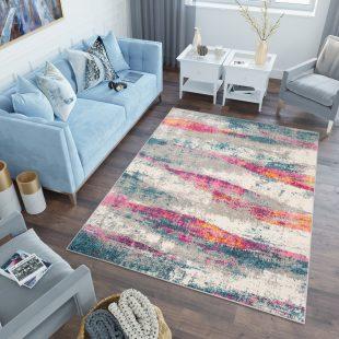 Lazur Tappeto Salotto Moderno Multicolore Turchese Rosa Astratto