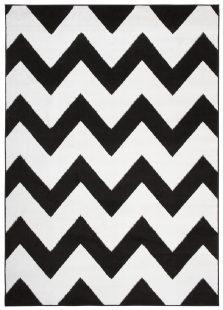 Bali Tappeto Moderno Nero Bianco Geometrico Onde Pelo Corto