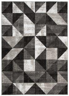 Bali Tappeto Geometrico Moderno Nero Grigio Scuro A Pelo Corto