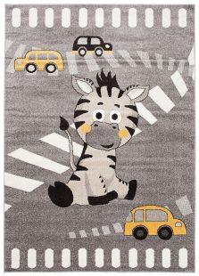 Fiesta Tappeto Cameretta Bambini Fumo Taupe Giallo Animale Zebra