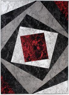 Bali Tappeto Moderno Astratto Rosso Nero Pelo Corto