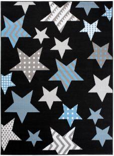 Bali Tappeto Nero Blu Astratto Geometrico Pelo Corto