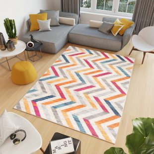 Cosmo Tappeto Salotto Moderno Multicolore Geometrico Pelo Corto