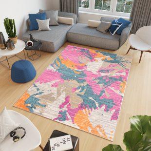Cosmo Tappeto Salotto Moderno Multicolore Arancione A Pelo Corto