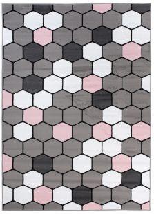 Pimky Tappeto Bambini Grigio Rosa Bianco Geometrico Pelo Corto