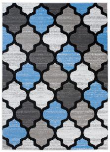 Pimky Tappeto Moderno Blu Grigio Geometrico A Pelo Corto Morbido